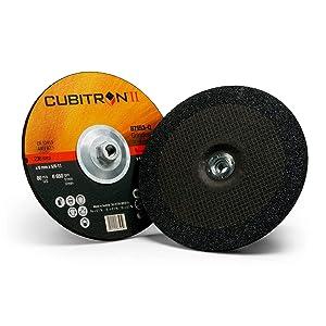 3M Cubitron II Depressed Center Grinding Wheel, 87153, T27 Quick Change, 9 in x 1/4 in x 5/8-11 in