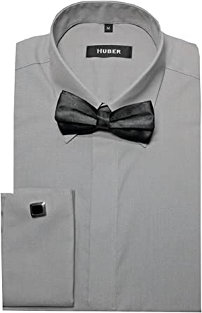 Sobres Puños Camisa gris con pajarita Negro Huber 1014 ajuste ...