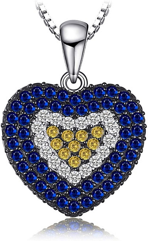 MMC Womens Fashion Love Heart 1.44ct Blue Spinel /& Orange Sapphire Silver Pendants Necklaces