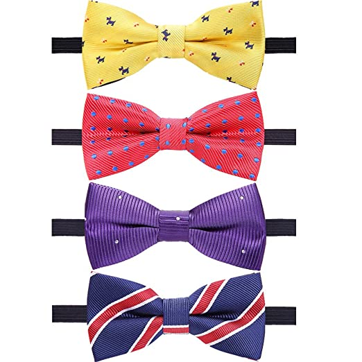 b5f38760c06c AUSKY 4 Packs Adjustable Pre-tied Bow Tie for Baby Boy Kids Toddler in Mixed
