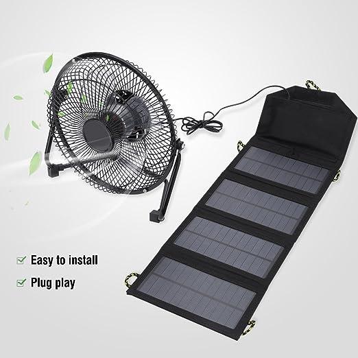 2W 5V Panel Solar Ventilador USB Port/átil Cargador Solar Al Aire Libre Generador De Polisilicio Viaje De Carga R/ápida De Alta Eficiencia KOFUN Ventilador del Panel