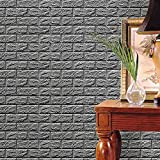 Nyalex - PE Foam 3D Wallpaper DIY Wall Stickers Wall Decor Embossed Brick Stone brick wall room children bedroom decor 60X60X0.8cm [Gray ]
