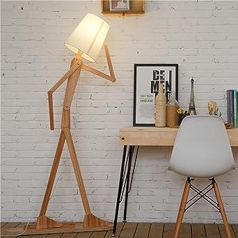 HROOME Nordique Decoratif Lampadaire De Salon Moderne Lampe Sur Pied Bois  Avec Abat Jour Blanc Reglable