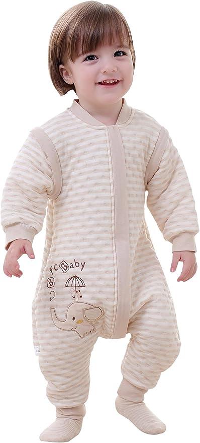 Happy Cherry - Infantil Mono Saco de Dormir Algodón Mameluco con Pies Mangas Largas Desmontables para Bebé con Cremallera Pijama Estampado 3D Dibujo Animado para Niños Niñas - Elefante - Talla M: