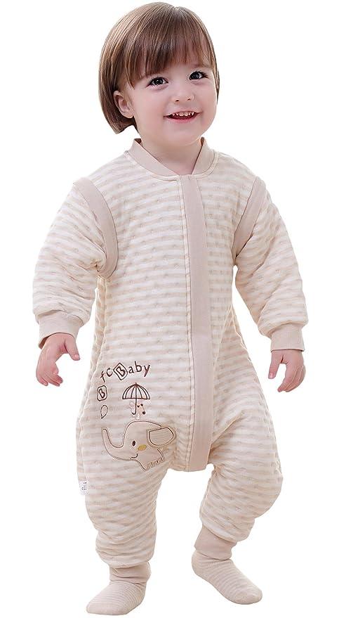 Happy Cherry - Infantil Mono Saco de Dormir Algodón Mameluco con Pies Mangas Largas Desmontables para