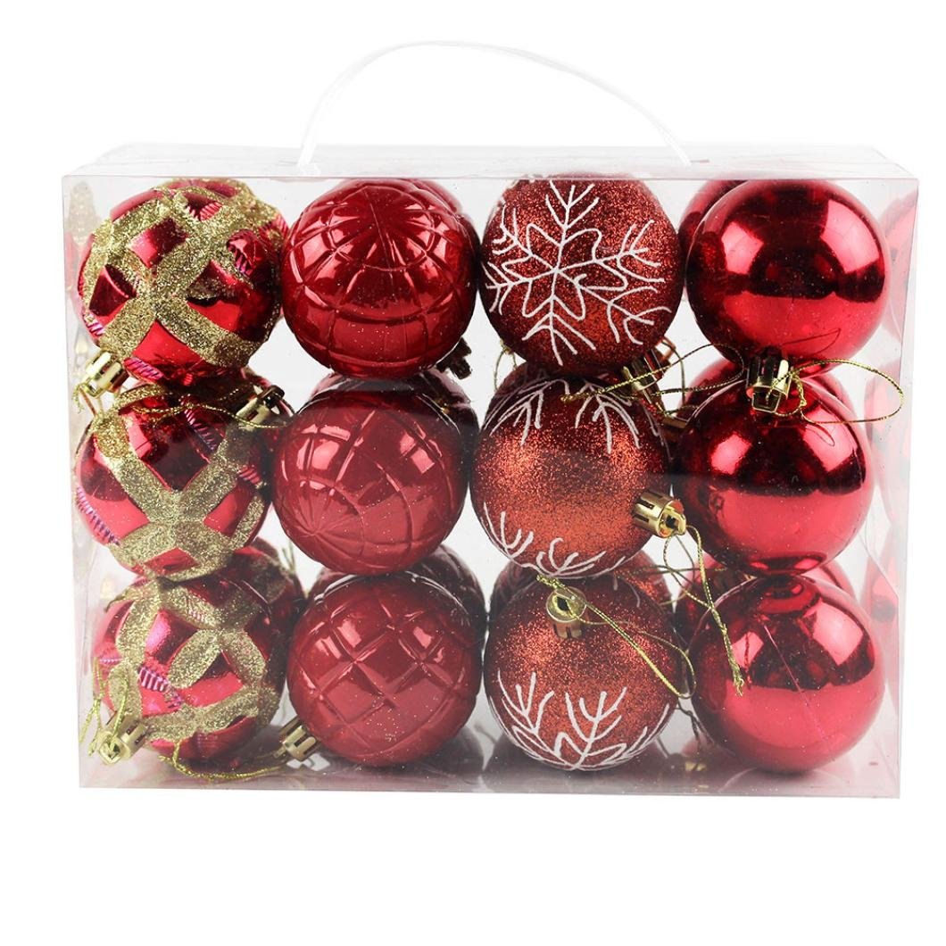 24 Pcs Christmas Tree Balls Decorations Ornaments Shatterproof Red Xmas Trees Wedding Parties Decoration Banstore 60mm Tree Balls. (Brown)