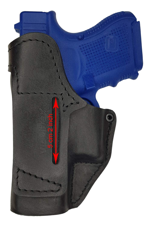 Nero 36//39 28//29 VlaMiTex IWB 4 Fondina in Pelle per Glock 26//27 30//33
