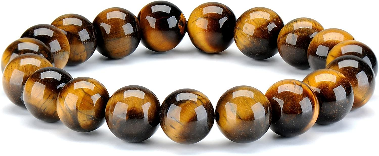 ChicJ&Y 10 MM Natural Pulsera Ojo de Tigre Gemstones Stone Bead Healing Energy Crystal Pulseras elásticas de Mujer Hombre