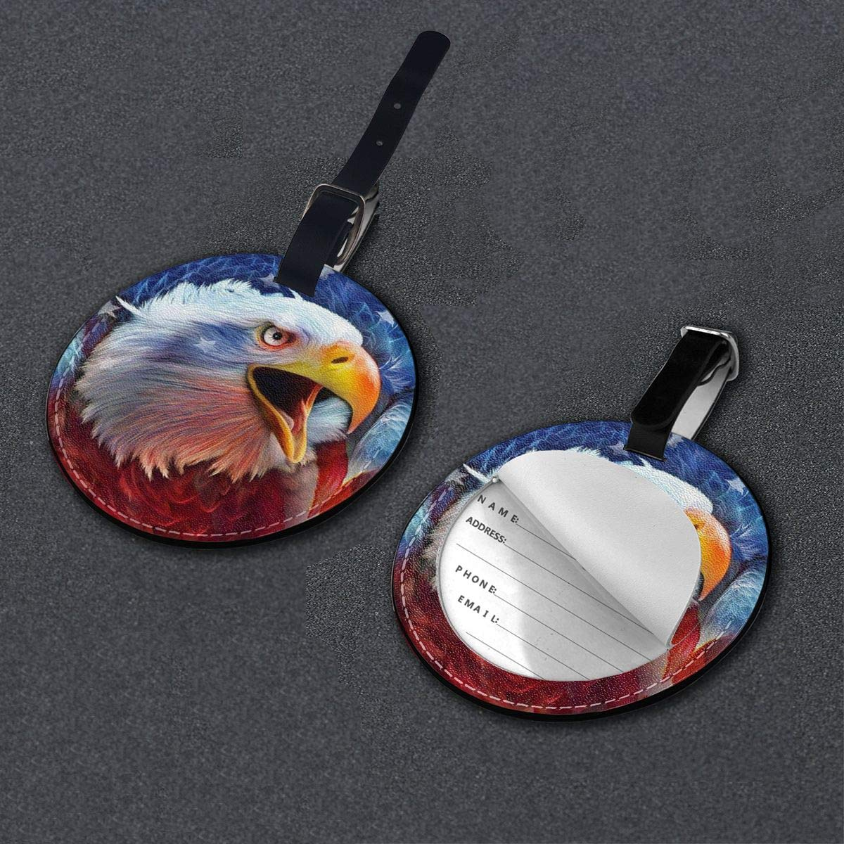 Hs8weyhfffFFF Luggage Tag Round Eagle and Flag Leather Luggage Bag Label Privacy Cover Business Travel Bag Label
