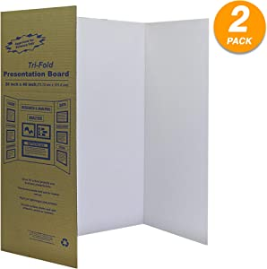 """White Tri-Fold Presentation Board 28"""" X 40"""" Display Exhibition Board Lightweight and Portable with Smooth Surface Great Business presentations (Pack of 2) - by Emraw"""