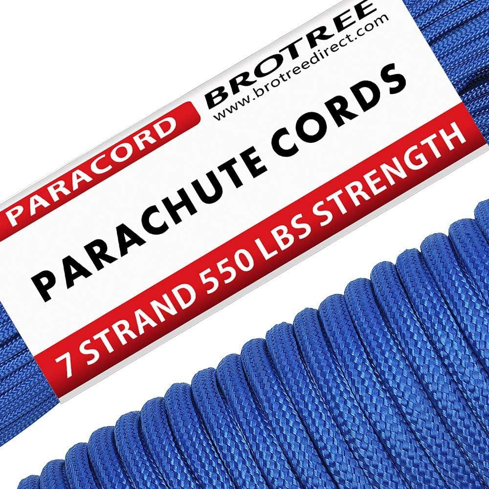 Brotree Paracord Cuerda de Paracaídas de Nylon 550 lbs 7 Resistentes Hebras de Fibra Poliéster para Escalada Kit de Supervivencia Acampada (Estándar, ...