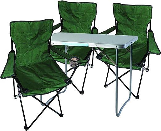 Set Tavolo E Sedie Da Campeggio.Mojawo 4 Pezzi Set Di Mobili Da Campeggio In Alluminio 70 X 50 X 59 Cm 1 Tavolo Da Campeggio Con Maniglia E 3 Sedie Da Pescatore Sedie Pieghevoli Da Campeggio Verde Amazon It Giardino E Giardinaggio