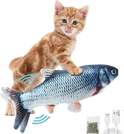 Moving Fish Toy Flopping Fish Cat Toy for Cats,Interactive Pets Chew Bite Supplies Catnip Electric Dancing Fish Cat Catnip Toy Realistic Moving Cat Kicker Fish