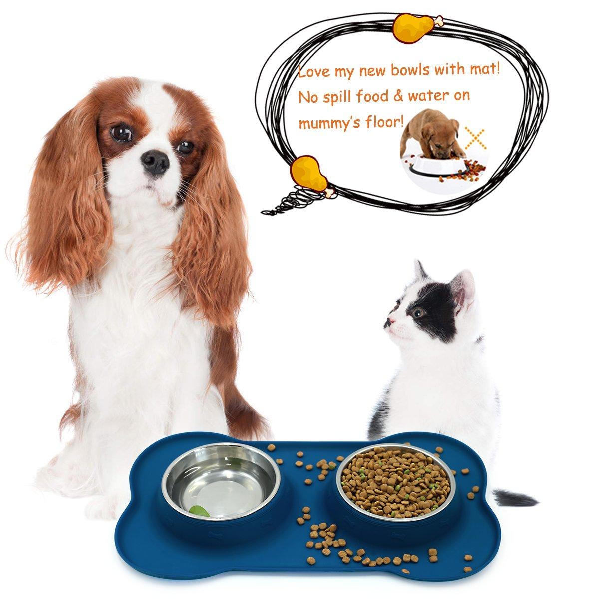 Alimentador de Gato para Mascotas de Acero Inoxidable Vivaglory Cuenco para Perros con Alfombra Antideslizante
