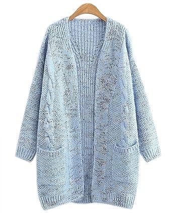 e4d01017b4 Hotmiss Women s Cable Twist Knit School Wear Boyfriend Oversized Open Front Cardigan  Sweater (Blue)