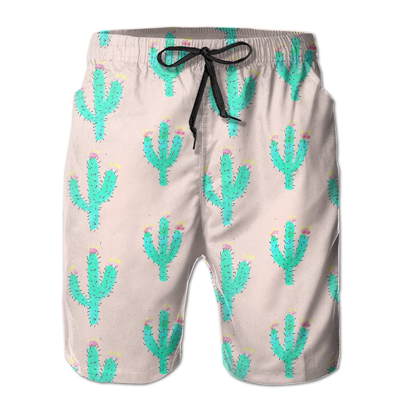 MYKJ Bright Cactus Summer Casual Quick-Dry Cargo Shorts Swim Trunks Drawstring Striped Side Pockets