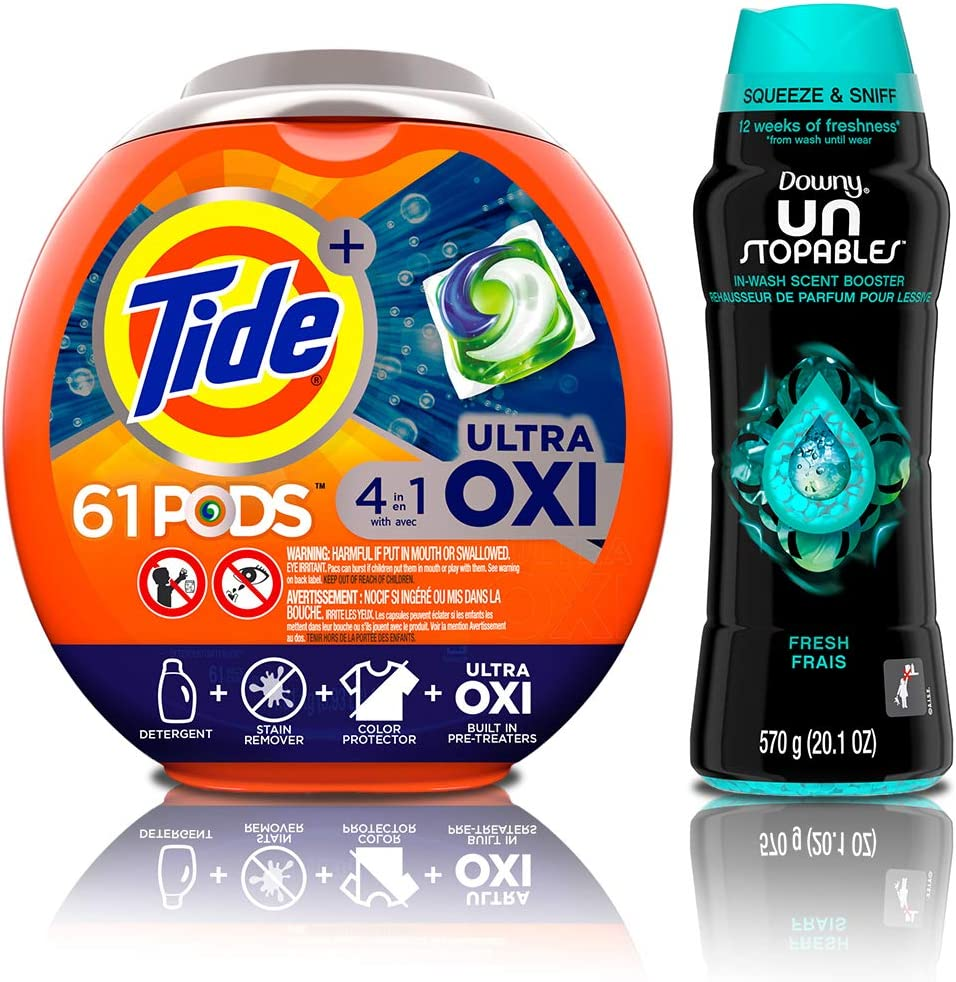 Tide PODS Ultra Oxi 4 in 1 HE Turbo Laundry Detergent Pacs, 61 Count Tub with In-Wash Scent Booster Beads, Fresh, 20.1 Ounce