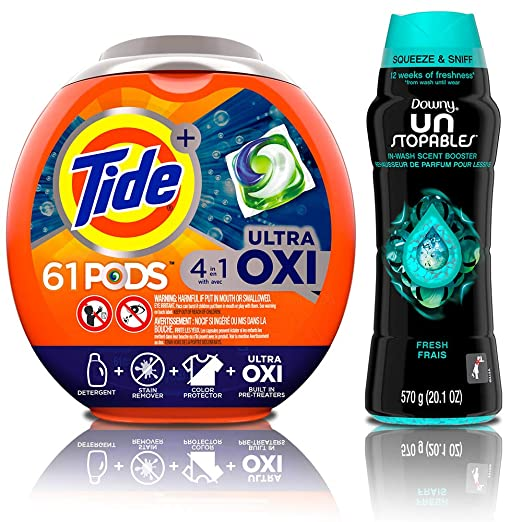 Tide Pods Ultra Oxi 4 In 1 He Turbo Laundry Detergent Pacs, 61 Count Tub With In Wash Scent Booster Beads, Fresh, 20.1 Ounce by Tide