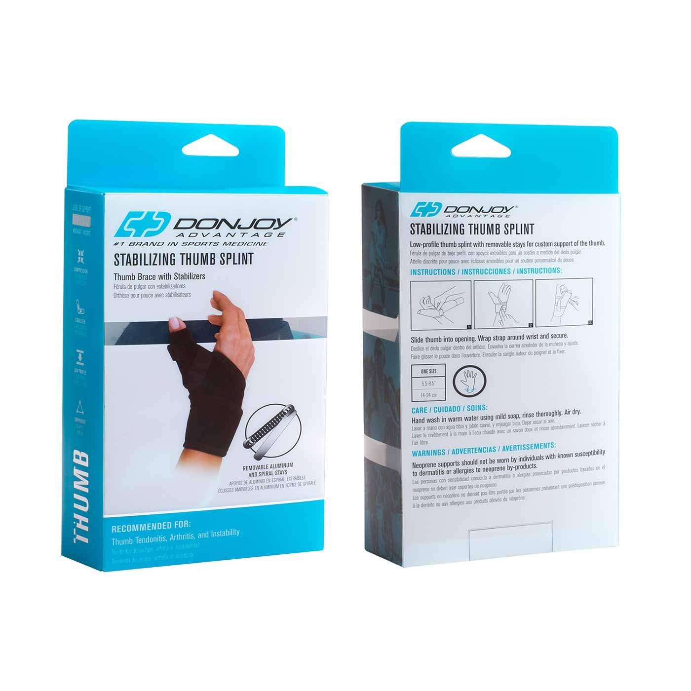 DonJoy Advantage DA161TB01-BLK Wrap Around Stabilizing Thumb Splint, Black, Adjustable, Fits 5.5'' to 9.5'', Best for Tendonitis, Arthritis, Instability by DonJoy Advantage (Image #2)