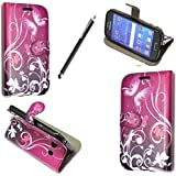 gr8value Samsung Galaxy Ace 4 G357 Printed PU Leather Magnetic Flip and BookCase Cover + Ace 4- G357 stylus (Purple butterfly book case)