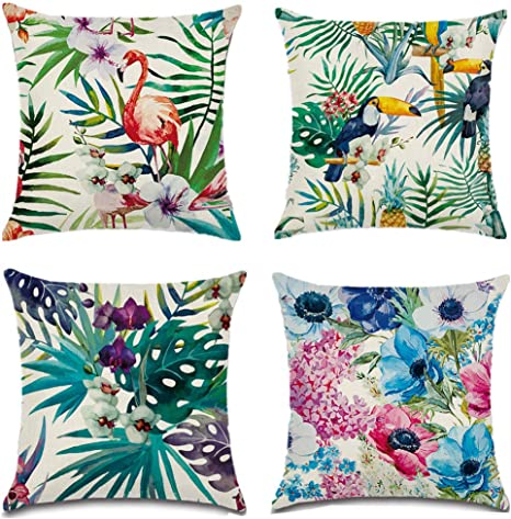 Gbateri Flamingo Pillow Covers Set Of 4 Cotton Linen Throw Pillow Cases Decorative Pillowcases 18 X 18 Inch Cushion Cases Square Pillow Protectors For Home Sofa Decorative Flamingo Tropical Flower Leaves Pattern Amazon Ca