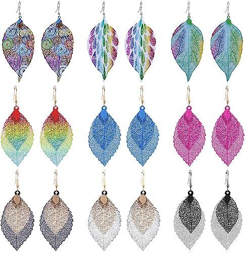 1 Pair Silver Earrings Women Blue Coloured Vintage Bohemian Dangle Drop Hook