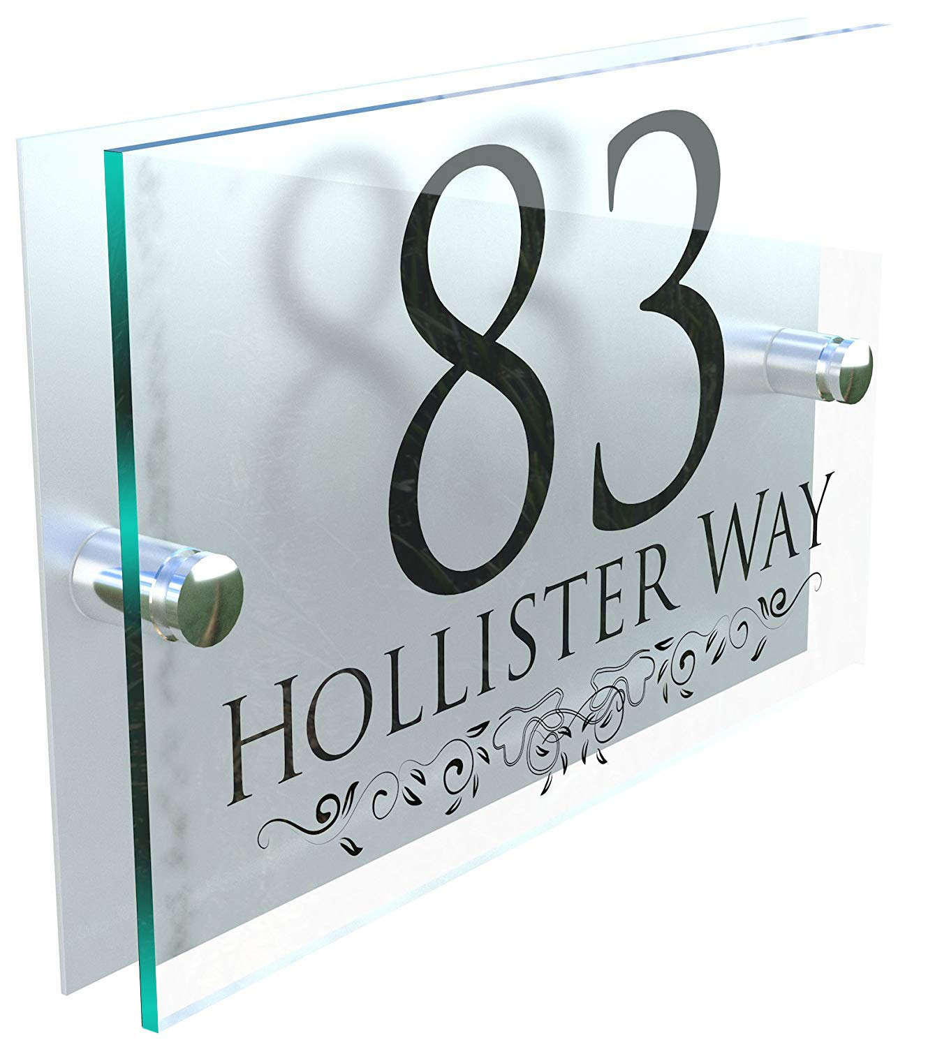 DECORATIVE PERSONALISED WALL PLAQUES DOOR NUMBERS STREET GLASS EFFECT ACRYLIC ALUMINIUM NAME - Black & Silver K Smart Sign Ltd