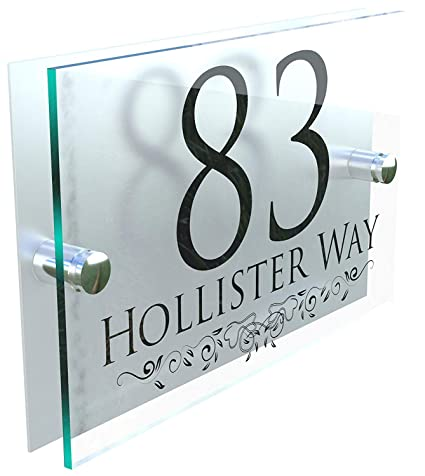 DECORATIVE PERSONALISED WALL PLAQUES DOOR NUMBERS STREET GLASS