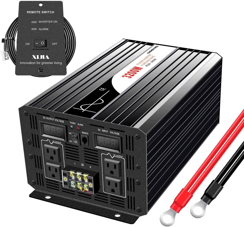 XIJIA 3200W (6400W Peak) Pure Sine Wave Power Inverter DC 12V to AC 120V 60HZ Home Use Car Solar Converter (DC12V (Range 10V-15V) 3200W)
