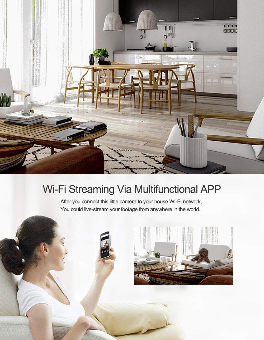 Night Vision Hidden Spy Camera QUANDU WiFi Smoke Detector Hidden Camera DVR Mini Nanny Cam with Motion Detection for Home Security Surveillance Apps for iOS Android PC Mac