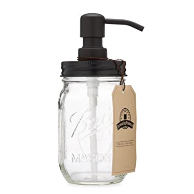 Jarmazing Products Mason Jar Soap Dispenser - Black - With 16 Ounce Ball Mason Jar - Made from Rust Proof Stainless Steel