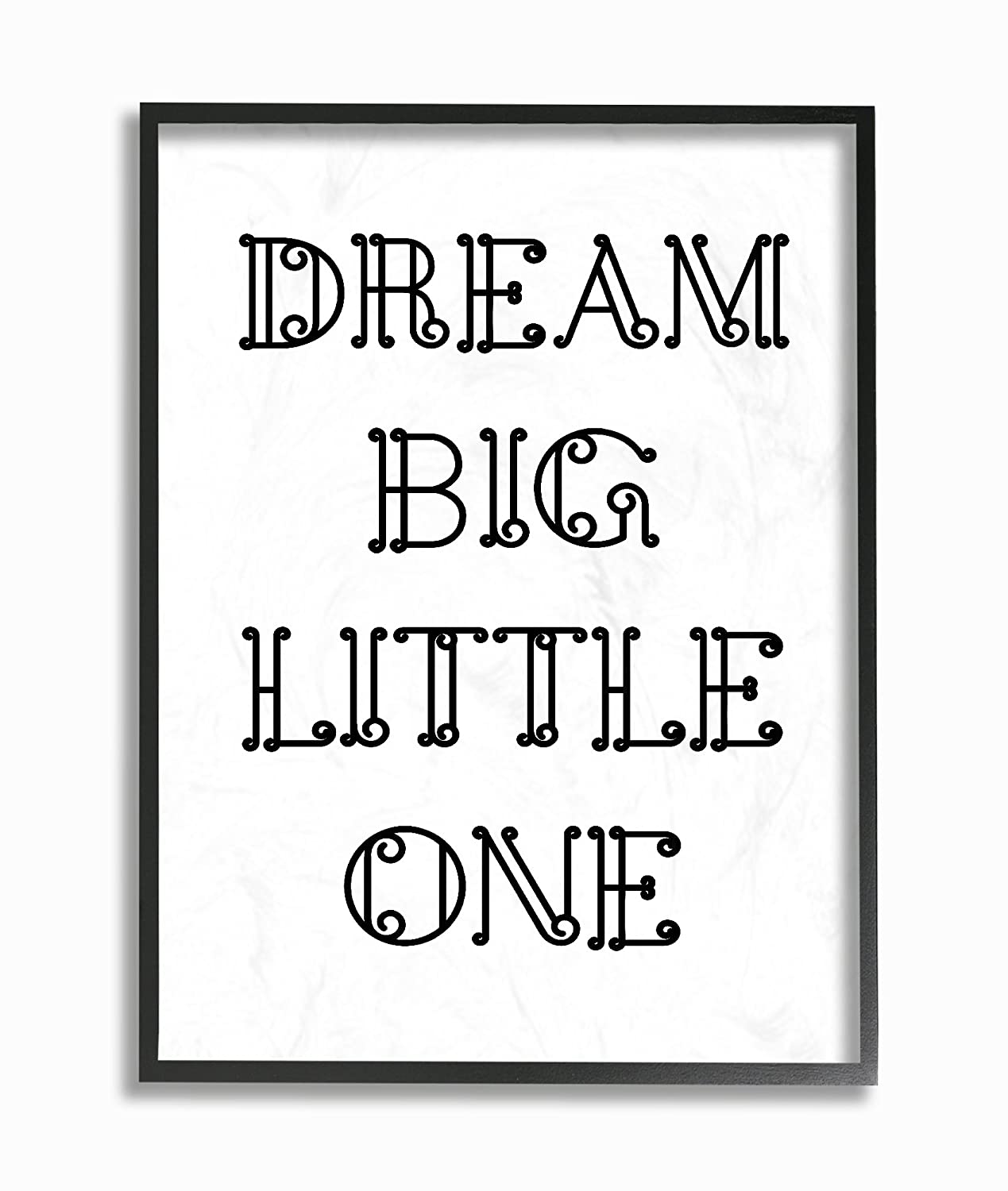 11 x 1.5 x 14 Stupell Home D/écor Dream Big Little One Black and White Loopy Text Framed Giclee Texturized Art Proudly Made in USA