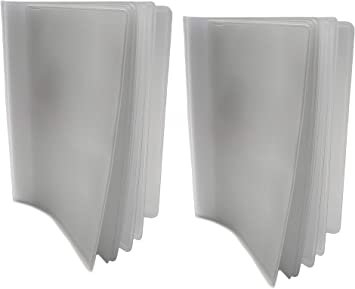 AG Walelts Set of 2 Transparent Plastic 6 Page Inserts for Checkbooks Long Wallets TOP LOAD