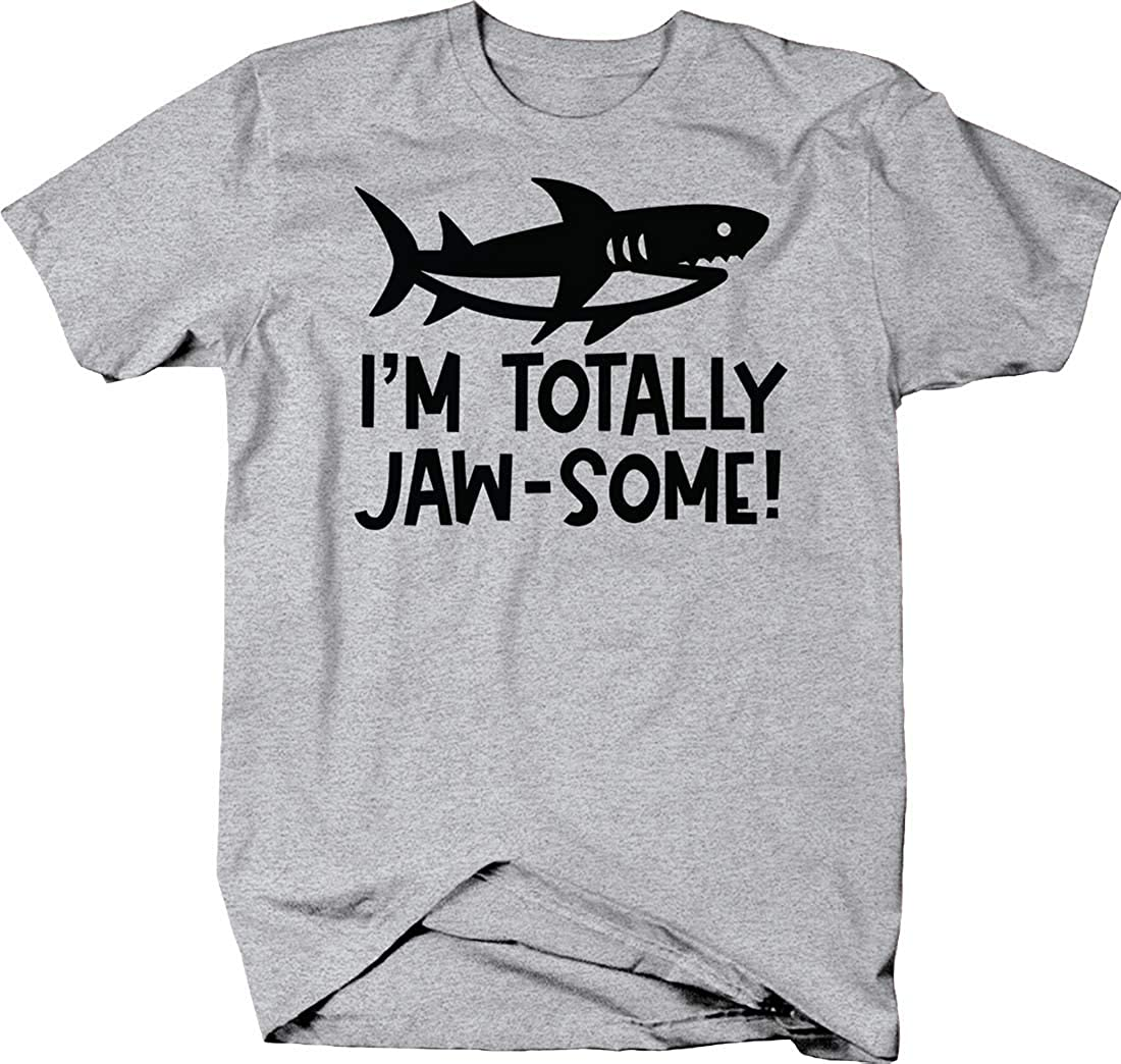 I'm Totally jaw-Some! Shark Silhouette caps Funny Awesome Ocean T Shirt for Men 3XL Heather Grey