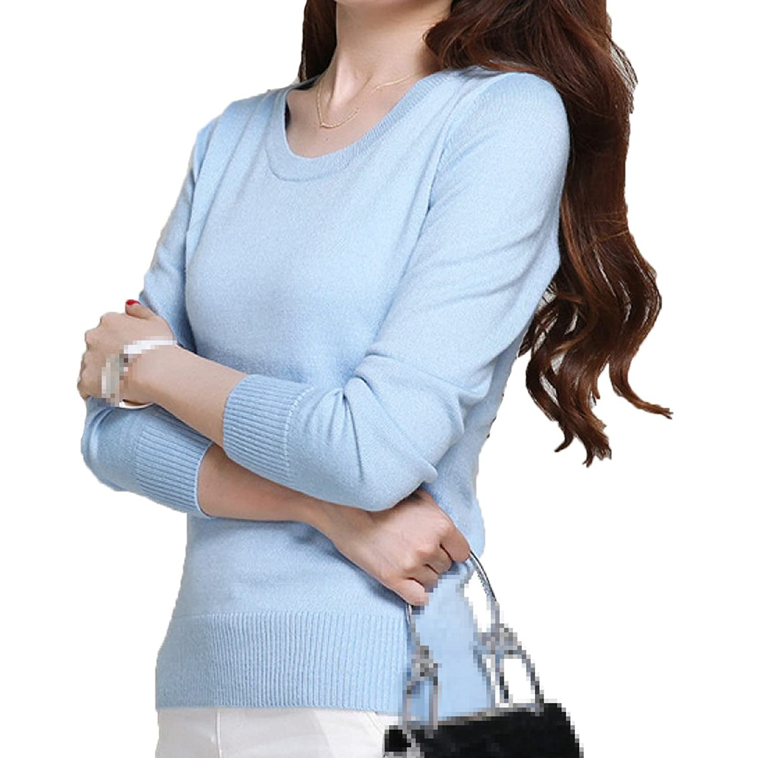 XGMSD Female Long Sleeves Sweaters Autumn Winter Bottoming Sweaters Wool,Sky-blue-XXXL