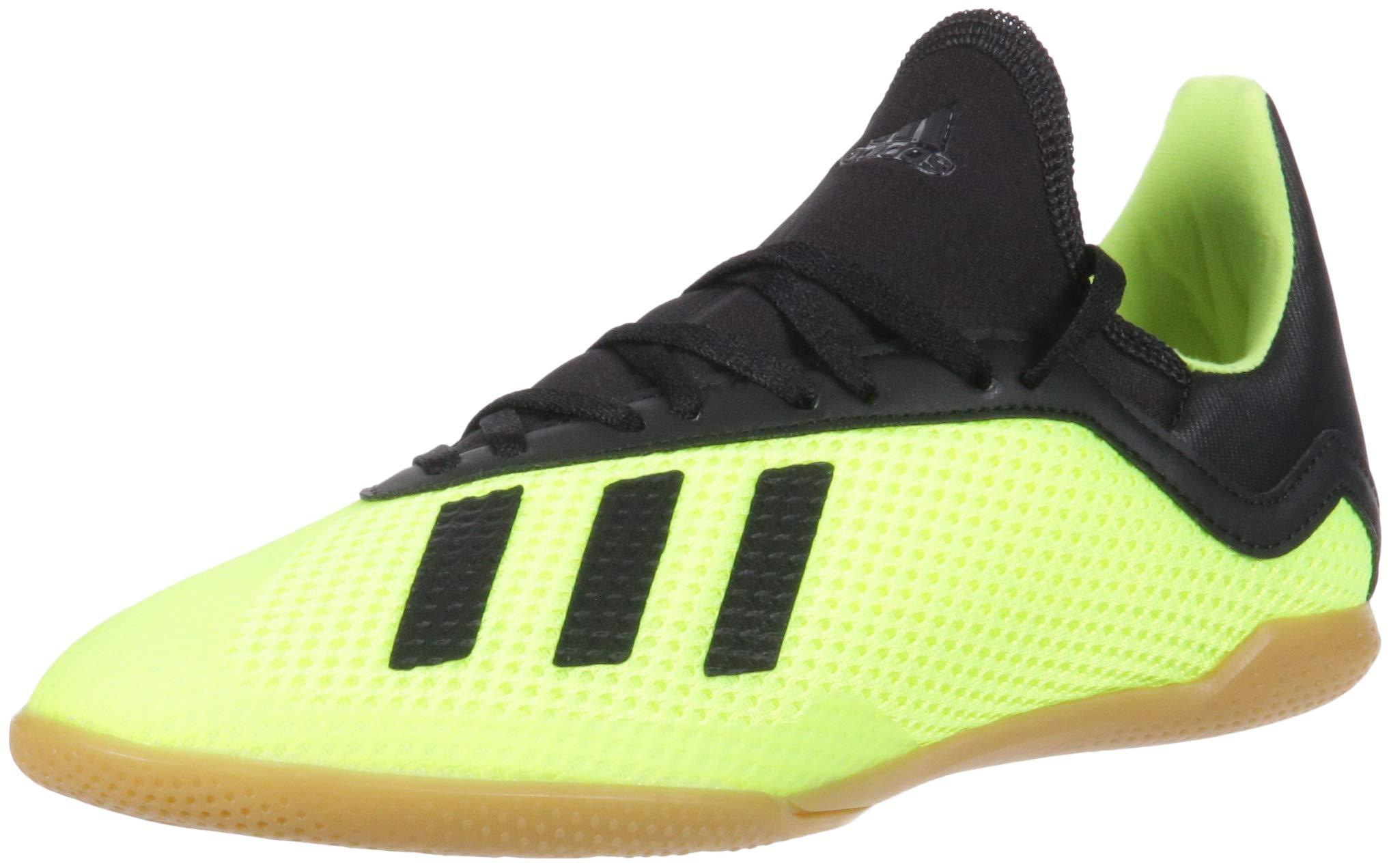 adidas Unisex X Tango 18.3 Indoor Soccer Shoe Black/Solar Yellow, 2 M US Little Kid