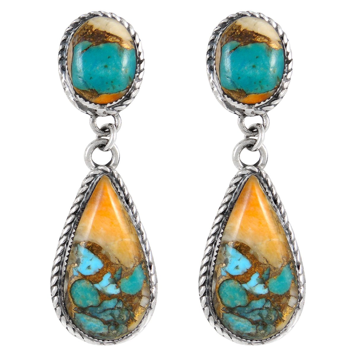 Spiny Oyster Turquoise Earrings in 925 Sterling Silver (Select style) (Western Teardrops)