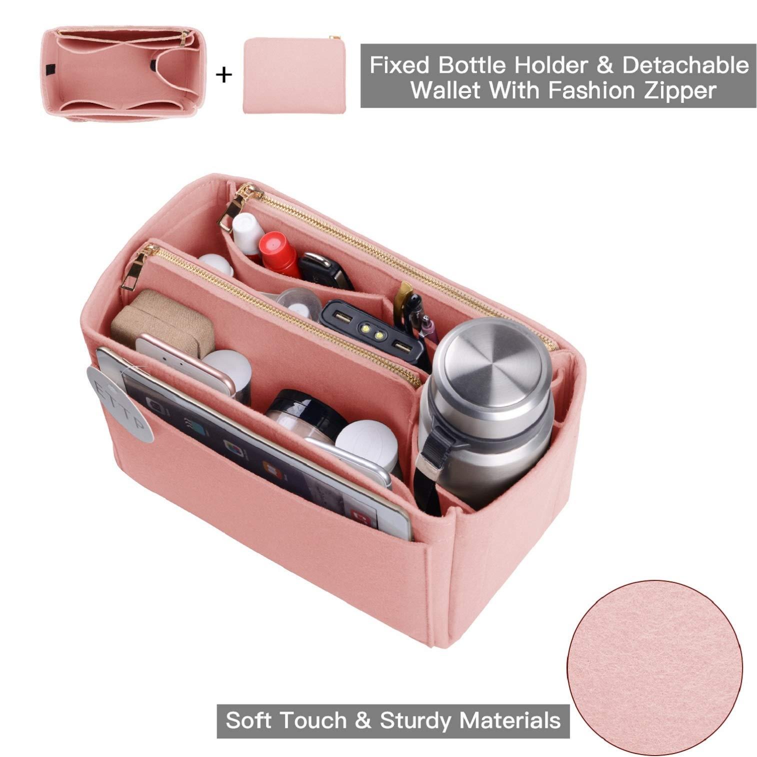 Purse Organizer, Felt Bag Organizer Insert For Speedy, Neverfull, Tote, Handbag, 6 Colors 3 Sizes (Large, Brush Pink) by ETTP