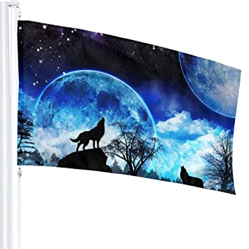 Amazon com: Guard Banner Flags Howling Wolf Full Moon Flag 3