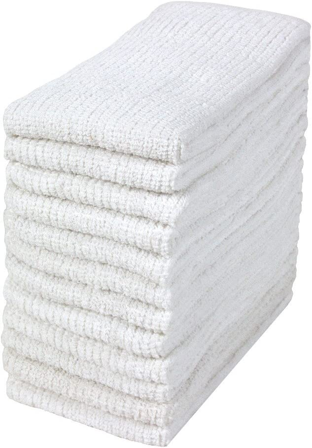 """Bumble 12-Pack Antimicrobial Barmop Kitchen Towels / 16"""" x 19"""" Premium Kitchen Towels/Super Absorbent Heavy Weight Cotton/Ribbed Weave (White)"""