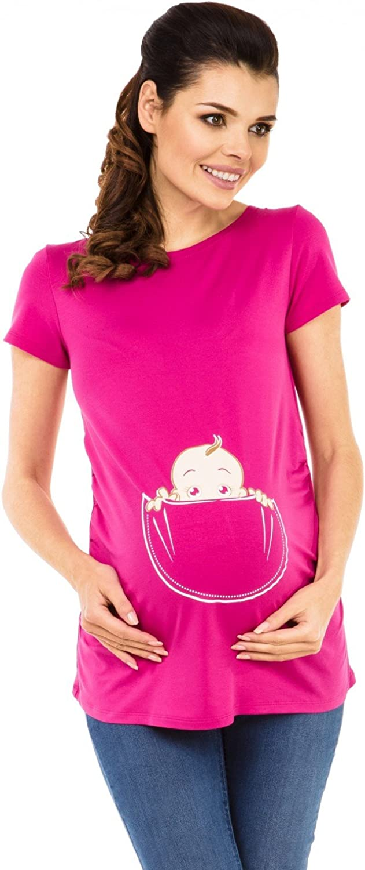 Womens Maternity T-Shirt Shirt Top Funny Baby Peeking Print Zeta Ville 501c