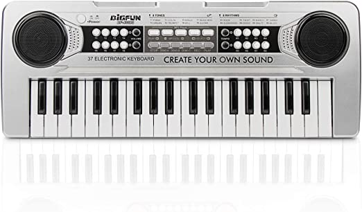 LYBALL Kids Piano 37 Keys Multi-Function Keyboard Organ Kids Toy Piano with Microphone /& MP3 Music Function Kids Starter Music Keyboard Silver 16.92 inches