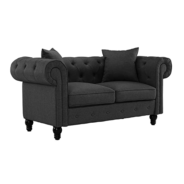 Divano Roma Furniture Classic Linen Fabric Scroll Arm Tufted Button Chesterfield Style Loveseat Couch (Dark Grey)