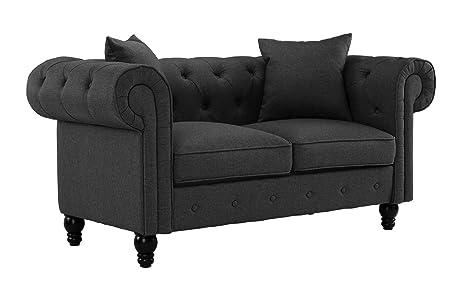 Amazon.com: Divano Roma Furniture Classic - Sofá de lino con ...