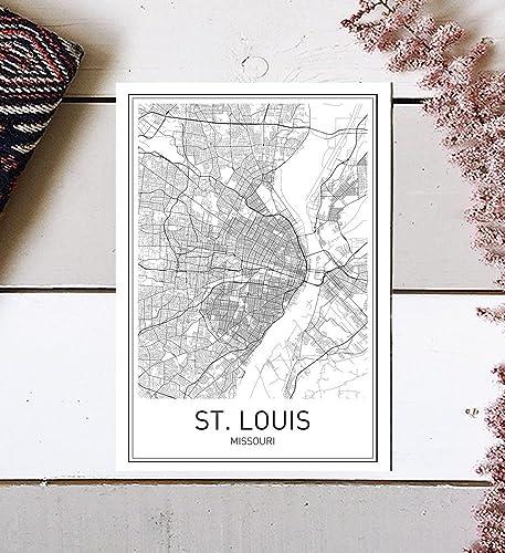 Amazon.com: St. Louis Poster, St. Louis Map, Map of St. Louis, City ...