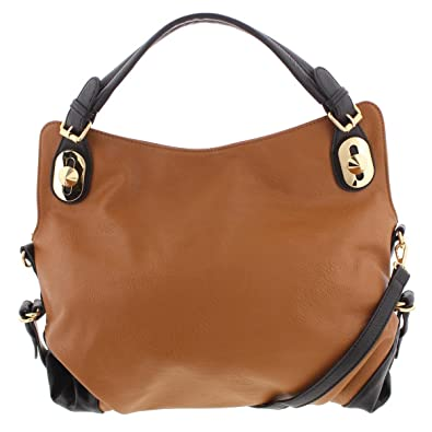 94b35a135343 Amazon.com  Kathy Ireland Womens Faux Leather Signature Hobo Handbag Brown  Medium  Shoes