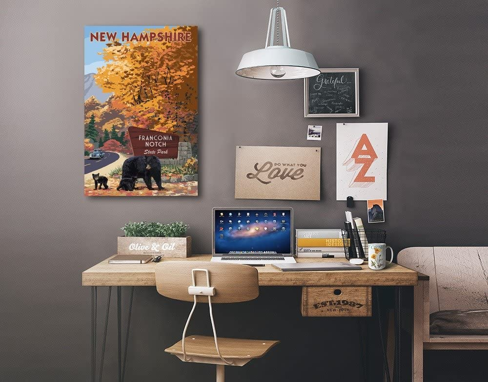 New Hampshire Franconia Notch State Park Bear Family and Fall Colors 12x18 Gallery Quality Metal Art