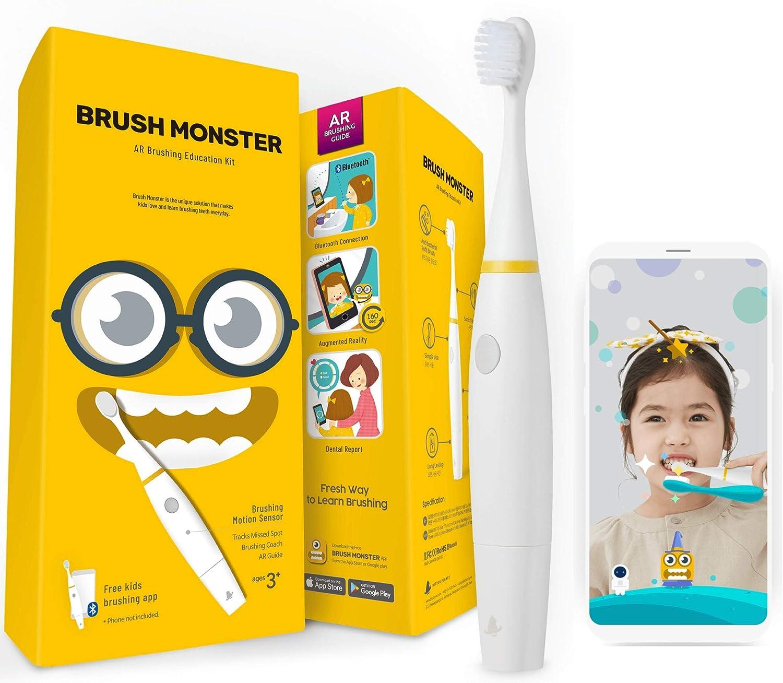BRUSH MONSTER ブラッシュモンスターキッズ 子供用スマートトラッキング電動歯ブラシ AR(拡張現実)搭載 歯育アプリ連動 BMT100 (本体ホワイト) B07L4MGFGF 本体ホワイト