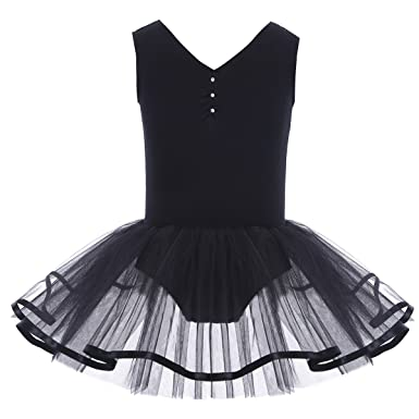 Freebily Tutu Fille Enfant Justaucorps Danse Gymnastique Classique Col V  Strass Robe Ballet Performance Scène Jupe 2-12 Ans  Amazon.fr  Vêtements et  ... dc357ecef01