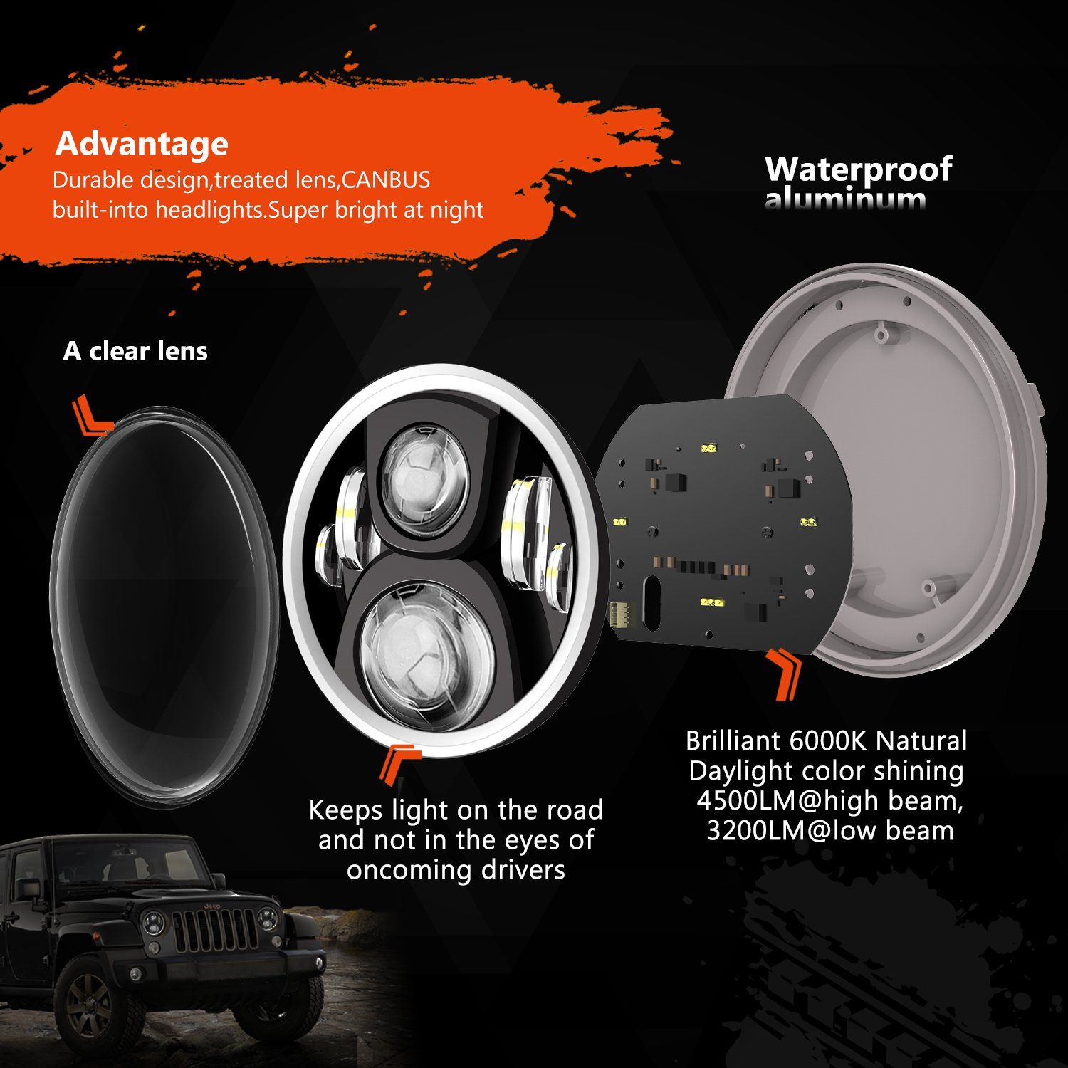 Rgb Halo Led Headlight For Jeep Wrangler Cj Tj Jk Jku H4 Wiring Diagram Headlights To H1s Mgroverorg Forums Rubision Unlimited 7inch Headlamp Assembly With Angel Eye